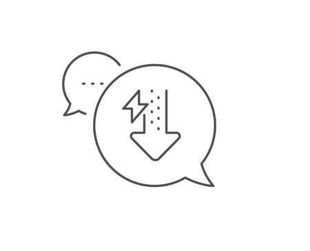 Icono de línea de energía. Diseño de burbujas de chat. Signo de rayo. Símbolo de consumo de energía. Concepto de esquema. Icono de gotas de energía de línea delgada. Vector
