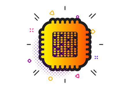 Computer component sign. Halftone circles pattern. Cpu processor icon. Classic flat cpu processor icon. Vector Ilustração