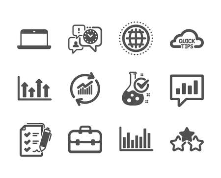 Set of Education icons, such as Update data, Upper arrows, Chemistry lab, Bar diagram, Survey checklist, Laptop, Quick tips, Time management, Analytical chat, Globe, Portfolio. Vector