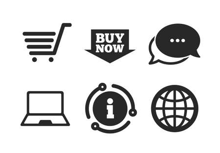 Notebook pc, shopping cart, buy now arrow and internet signs. Chat, info sign. Online shopping icons. WWW globe symbol. Classic style speech bubble icon. Vector Иллюстрация