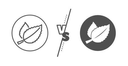 Herbal leaf sign. Versus concept. Mint leaves line icon. Tea with Mentha symbol. Line vs classic mint leaves icon. Vector