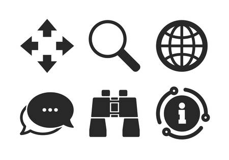 Fullscreen arrows and binocular search sign symbols. Chat, info sign. Magnifier glass and globe search icons. Classic style speech bubble icon. Vector