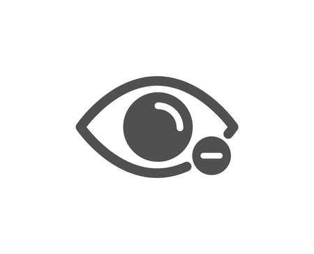 Eye diopter sign. Myopia icon. Optometry vision symbol. Classic flat style. Simple myopia icon. Vector