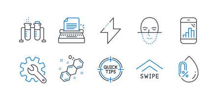 Set van wetenschap pictogrammen, zoals grafiek telefoon, chemie bekerglas, maatwerk, energie, gezichtsherkenning, chemische formule, veeg omhoog, typemachine, tips, geen alcohol lijn pictogrammen. Lijn grafiek telefoonpictogram. Vector