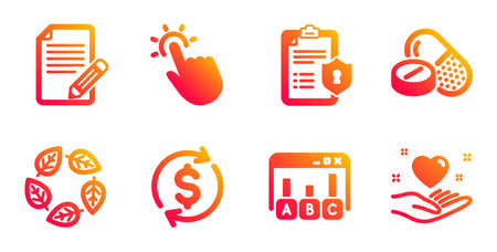 Survey results, Medical drugs and Usd exchange line icons set. Touchpoint, Organic tested and Privacy policy signs. Article, Hold heart symbols. Best answer, Medicine pills. Business set. Vector Illusztráció