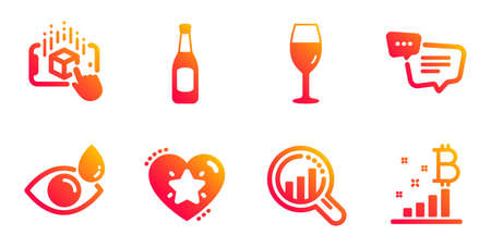 Augmented reality, Text message and Seo analysis line icons set. Ranking star, Beer and Wineglass signs. Eye drops, Bitcoin graph symbols. Phone simulation, Chat bubble. Business set. Vector
