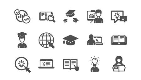Education icons. Book, Video tutorial and Instructions. Presentation classic icon set. Quality set. Vector 版權商用圖片 - 129947598