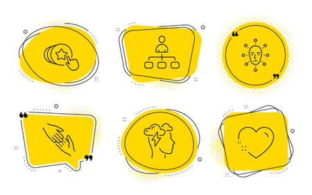Helping hand, Face biometrics and Heart signs. Chat bubbles. Mindfulness stress, Hold heart and Management line icons set. Cloud storm, Love brand, Agent. Give gesture. People set. Vector Stok Fotoğraf - 129947602