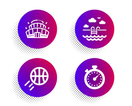 Basketball, Swimming pool and Arena stadium icons simple set. Halftone dots button. Timer sign. Sport ball, Basin, Competition building. Stopwatch gadget. Sports set. Vector Illustration