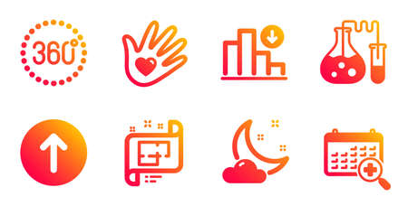 Architectural plan, Social responsibility and Swipe up line icons set. Chemistry lab, Night weather and 360 degrees signs. Decreasing graph, Medical calendar symbols. Vector