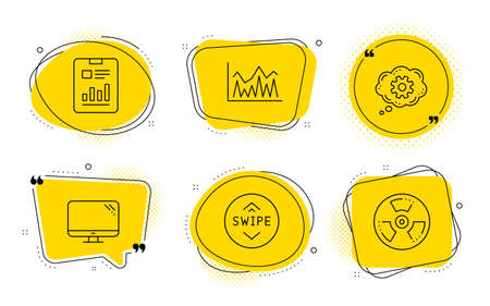 Report document, Swipe up and Chemical hazard signs. Chat bubbles. Cogwheel, Computer and Investment line icons set. Engineering tool, Pc component, Economic statistics. Page with charts. Vector Ilustracja