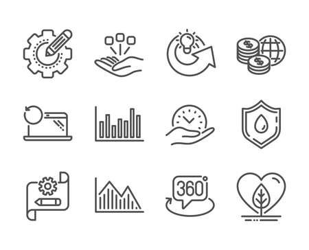 Set of Science icons, such as Blood donation, Cogwheel blueprint, Share idea, Investment graph, Settings gear, Recovery laptop, Bar diagram, Local grown, World money, Safe time, 360 degree. Vector
