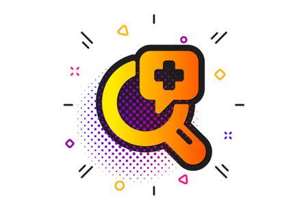 Medicine help sign. Halftone circles pattern. Medical analyzes icon. Pharmacy medication symbol. Classic flat medical analyzes icon. Vector