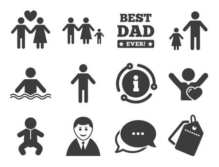 Swimming pool, love and children signs. Discount offer tag, chat, info icon. People, family icons. Best dad, father and mother symbols. Classic style signs set. Vector