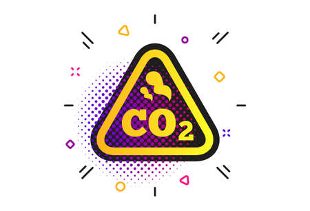 CO2 carbon dioxide formula sign icon. Halftone dots pattern. Chemistry symbol. Classic flat carbon icon. Vector