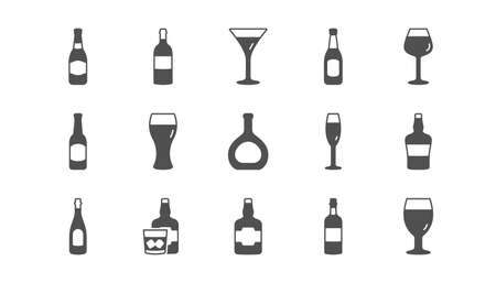 Bottles icons. Beer drinks, Wine glass and Whiskey bottle. Champagne classic icon set. Quality set. Vector