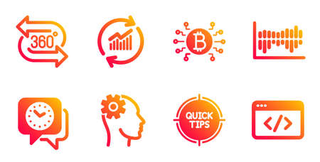 Update data, Column diagram and Tips line icons set. Bitcoin system, Clock and 360 degree signs. Engineering, Seo script symbols. Sales statistics, Sale statistics. Science set. Vector Ilustracja