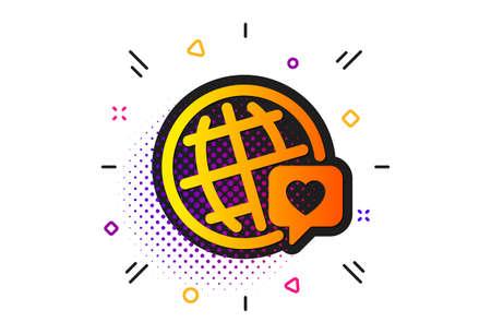 Friendship love sign. Halftone circles pattern. Friends world icon. World brand ambassador symbol. Classic flat world brand icon. Vector