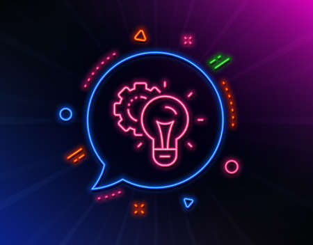 Idea gear line icon. Neon laser lights. Settings cogwheel sign. Working process symbol. Glow laser speech bubble. Neon lights chat bubble. Banner badge with idea gear icon. Vector