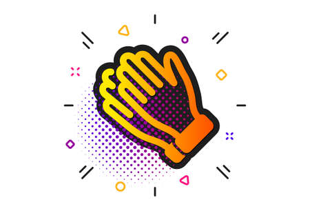Clap sign. Halftone circles pattern. Clapping hands icon. Victory gesture symbol. Classic flat clapping hands icon. Vector