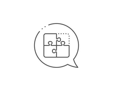 Puzzle line icon. Chat bubble design. Engineering strategy sign. Outline concept. Thin line puzzle icon. Vector Çizim