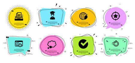 Typewriter, Fast recovery and Project deadline line icons set. Chat bubbles with quotes. Verify, Student and Star target signs. Environment day, Talk bubble symbols. Vector