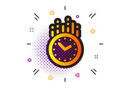 Clock sign. Halftone circles pattern. Time management icon. Watch symbol. Classic flat time icon. Vector Zdjęcie Seryjne - 129947661