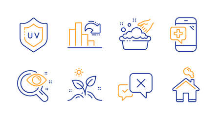 Vision test, Grow plant and Hand washing line icons set. Uv protection, Decreasing graph and Medical phone signs. Reject, Home symbols. Eyesight check, Leaves. Business set. Vector Ilustração