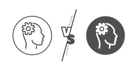 Cogwheel tool sign. Versus concept. Engineering line icon. Man think symbol. Line vs classic engineering icon. Vector