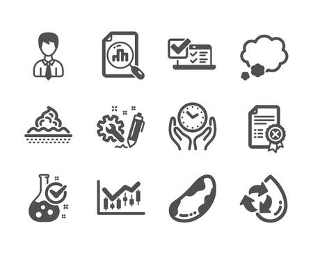 Set of Business icons, such as Brazil nut, Recycle water, Chemistry lab, Reject certificate, Safe time, Skin care, Financial diagram, Engineering, Businessman, Online survey, Talk bubble. Vector