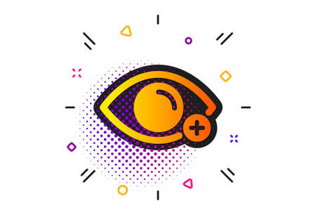 Eye diopter sign. Halftone circles pattern. Farsightedness icon. Optometry vision symbol. Classic flat farsightedness icon. Vector Zdjęcie Seryjne - 129947668