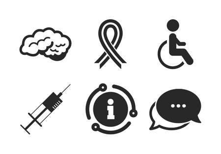Syringe, disabled, brain and ribbon signs. Chat, info sign. Medicine icons. Breast cancer awareness symbol. Handicapped invalid. Classic style speech bubble icon. Vector