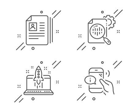 Start business, Cv documents and Seo stats line icons set. Call center sign. Launch idea, Portfolio files, Cogwheel. Phone support. Business set. Line start business outline icon. Vector Ilustração
