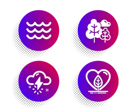 Thunderstorm weather, Waves and Tree icons simple set. Halftone dots button. Local grown sign. Thunder bolt, Water wave, Forest plants. Organic tested. Nature set. Vector 일러스트