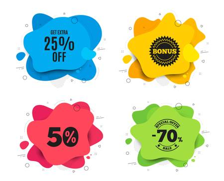 Get Extra 25% off Sale. Liquid shape, various colors. Discount offer price sign. Special offer symbol. Save 25 percentages. Geometric vector banner. Extra discount text. Gradient shape badge. Vector Фото со стока - 129947699