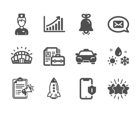Set of Business icons, such as Graph chart, Smartphone protection, Taxi, Megaphone checklist, Messenger, Bell, Rocket, Weather, Star, Sports stadium, Doctor, Vacancy classic icons. Vector