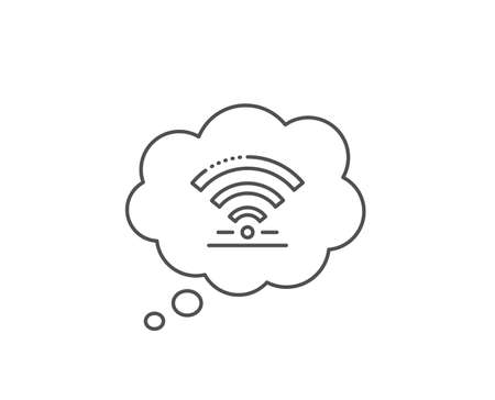 Wifi line icon. Chat bubble design. Wireless internet sign. Hotel service symbol. Outline concept. Thin line wifi icon. Vector