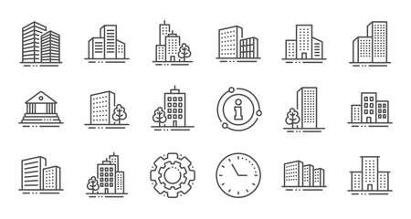 Ikony linii budynków. Bank, hotel, gmach sądu. Miasto, nieruchomości, ikony budynków architektury. Szpital, kamienica, muzeum. Architektura miejska, drapacz chmur. Zestaw liniowy. Zestaw linii jakości. Wektor