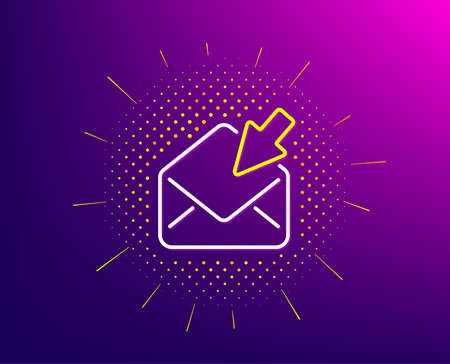 Open Mail line icon. Halftone pattern. View Message correspondence sign. E-mail symbol. Gradient background. Open Mail line icon. Yellow halftone pattern. Vector