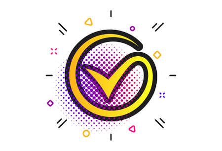 Tick sign icon. Halftone dots pattern. Check mark symbol. Classic flat tick icon. Vector