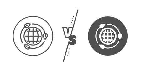 Green world sign. Versus concept. Eco energy line icon. Ecology power symbol. Line vs classic eco energy icon. Vector
