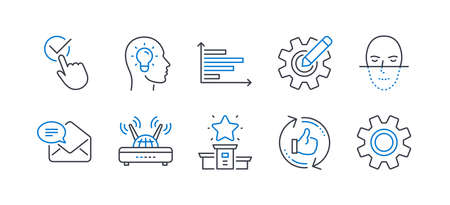Set of Technology icons, such as Cogwheel, Wifi, Winner podium, New mail, Refresh like, Face recognition, Horizontal chart, Idea head, Checkbox, Service line icons. Line cogwheel icon. Vector Stok Fotoğraf - 129947846
