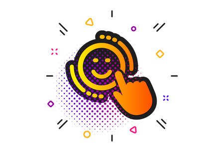 Positive feedback rating sign. Halftone circles pattern. Smile icon. Customer satisfaction symbol. Classic flat smile icon. Vector
