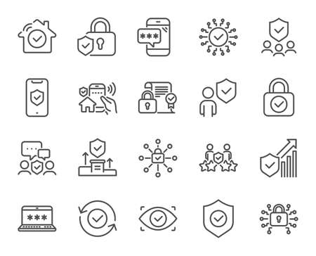 Security line icons. Cyber lock, password, unlock. Guard, shield, home security system icons. Eye access, electronic check, firewall. Internet protection, laptop password. Vector