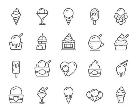 Icone della linea di gelato. Gelato alla vaniglia, yogurt gelato, waffle. Cibo da dessert dolce, frullato con gelato, icone di gelato. Bevanda frullata, caffè ghiacciato, cialda di sorbetto. Vettore