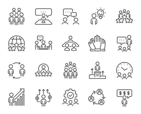 Business people line icons. Team, meeting, job structure. Group people, communication, member icons. Congress, talk person, partnership. Job interview, business idea, voting. Vector