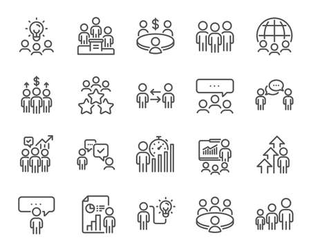 Meeting line icons. Conference, seminar, classroom. Team, work and business idea icons. Discussion, classroom job, people management. Presentation, office meeting, consultation. Vector