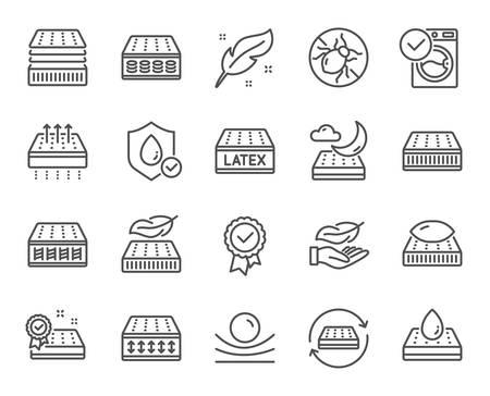 Ikony linii materaca. Oddychający, zmywalny, lateksowy. Pianka z pamięcią kształtu, poduszka, ikony kleszcza łóżka. Lekki, naturalny materiał, materac kieszeniowy. Roztocze, lateks antyalergiczny. Wektor