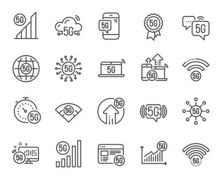 5G technology line icons. Mobile network, fast internet, phone connection. Hotspot signal, mobile telecommunications, wifi internet icons. 5G cellular network technology. Vector