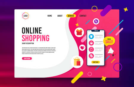 Sale landing page vector template. Web design for online shopping, digital marketing. Concept for website and mobile app. Modern vector template. Landing web page background. Smartphone with icons.